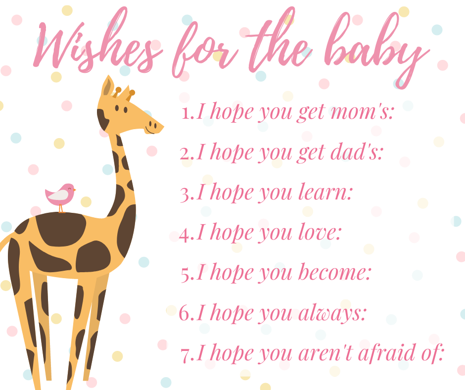 Virtual baby shower - wishes for the baby card